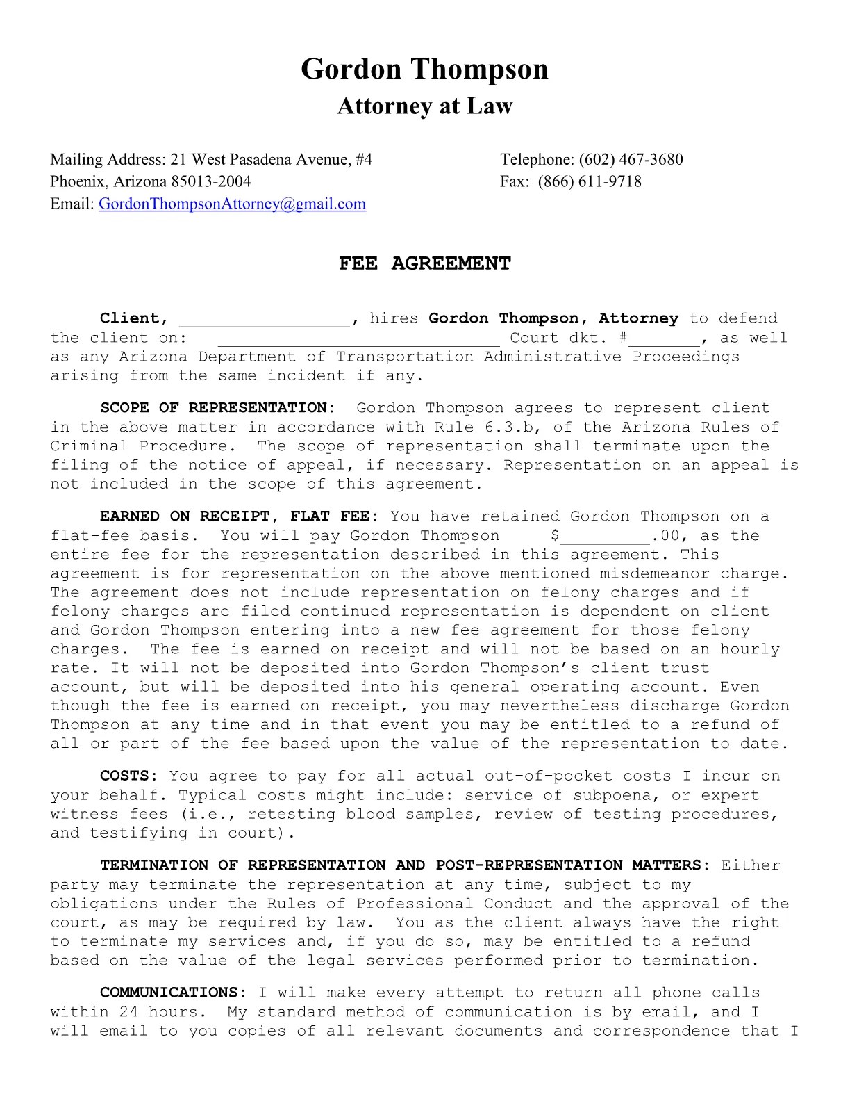 Retainer Agreement For Marketing Services – Sample Retainer Agreement Template