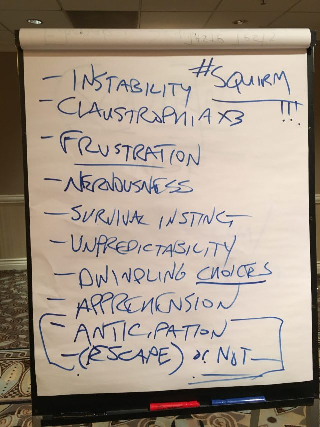 "Notes from ""Squirm Theory"" at the ""Making the Reader Squirm"" workshop."