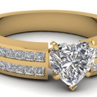 A Gorgeous 2 Row Channel Set Engagement Ring For Women With Heart Shaped Diamond 1 Carat