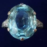 A Stunning Solid Platinum Art Deco 12 Ct Aquamarine and 1/2ct Diamond Ring