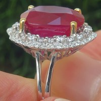 A Gorgeous Certified 14.87 Ct Natural Red Ruby Diamond 14k White & Yellow Gold Estate Ring