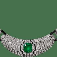 An Exquisite Platinum, emeralds, onyx, diamonds necklace by Cartier