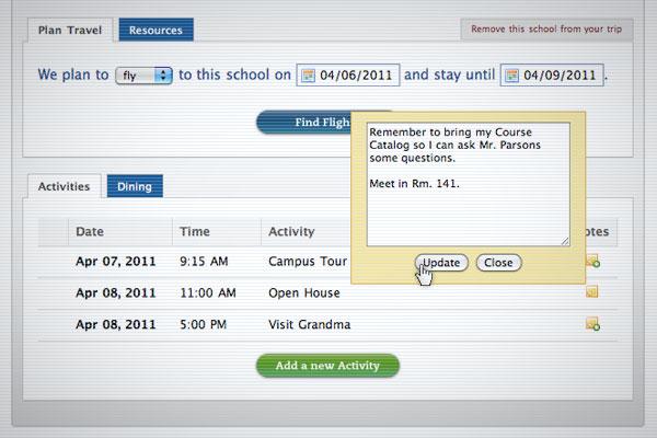 College Trip Planner Go See Campus - trip maker software