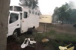 Lastebilen måtte i all hast pakkes sammen når uværet kom