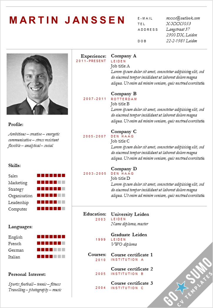 CV Template Boston - Go Sumo cv template