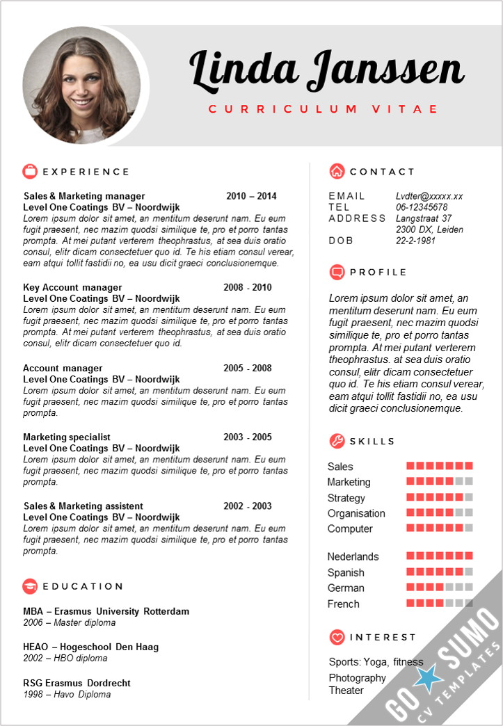 cv template latex student