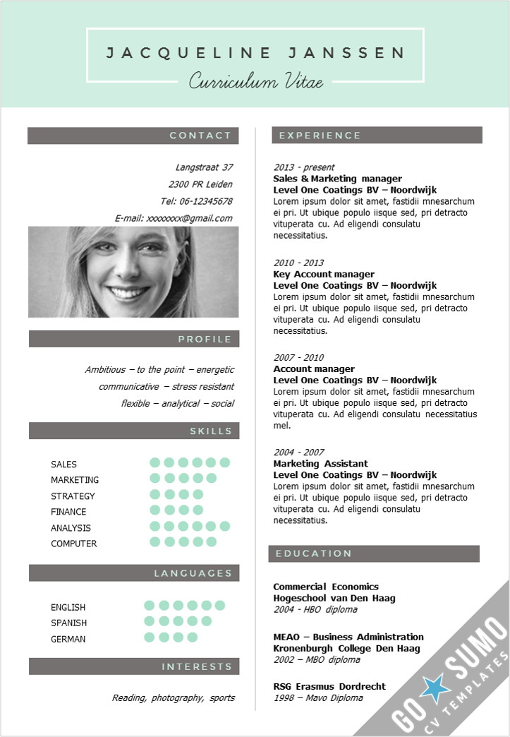 modele cv version page