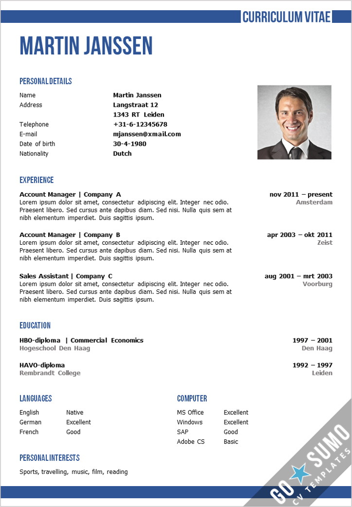 CV Template Oxford - Go Sumo cv template - Resume Te