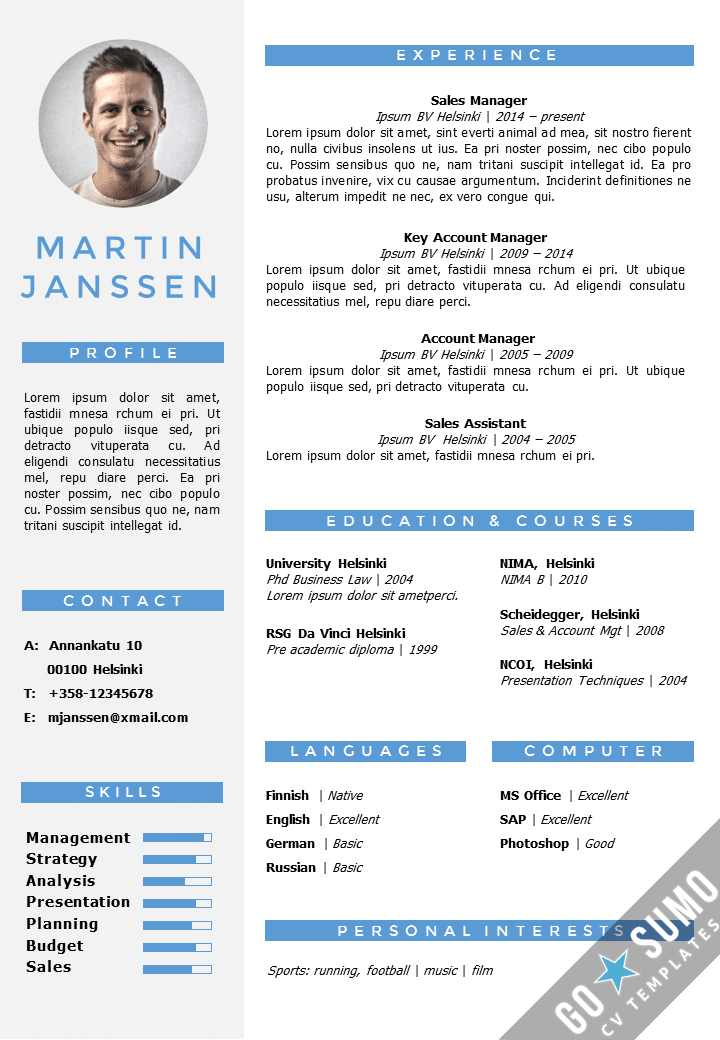 template cv gratuit ppt word