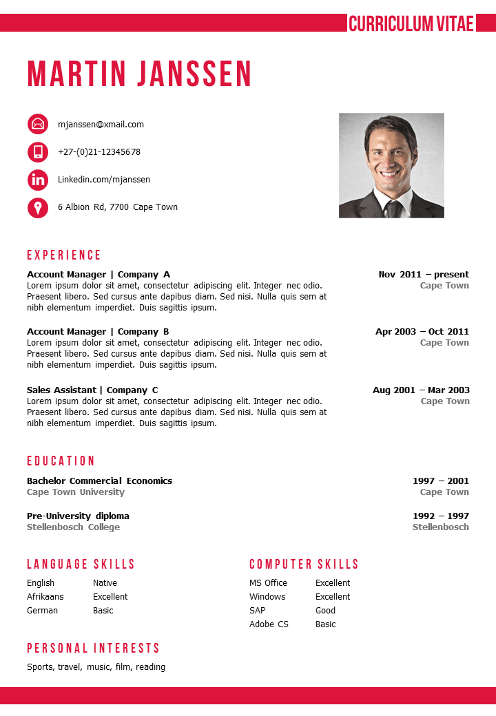 Resume Templates Cv Template Cape Town