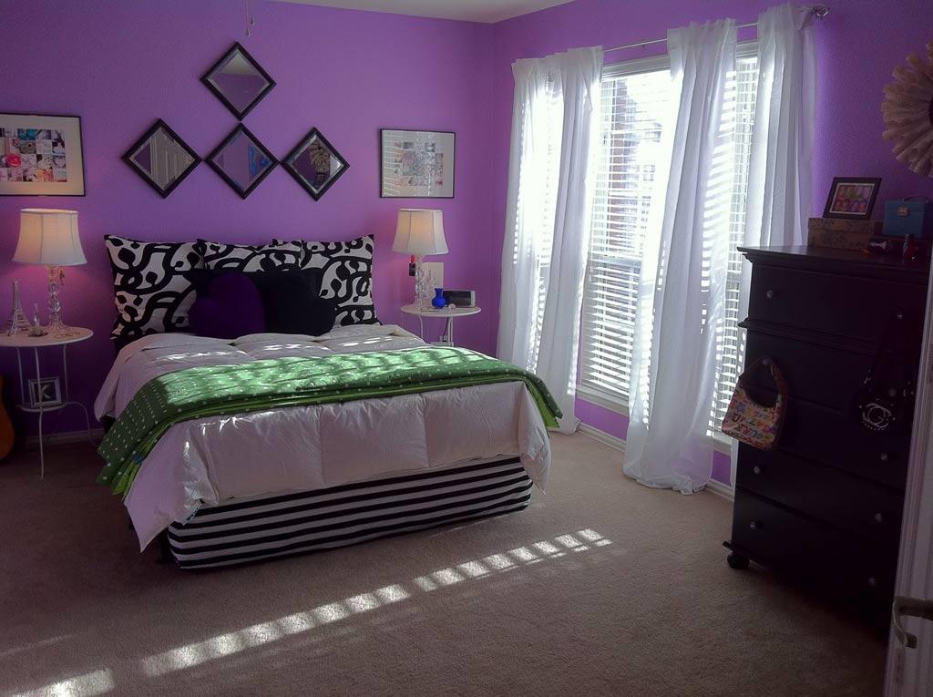 Diy Fabric Bedroom Decor With Purple Wall Paint 2957