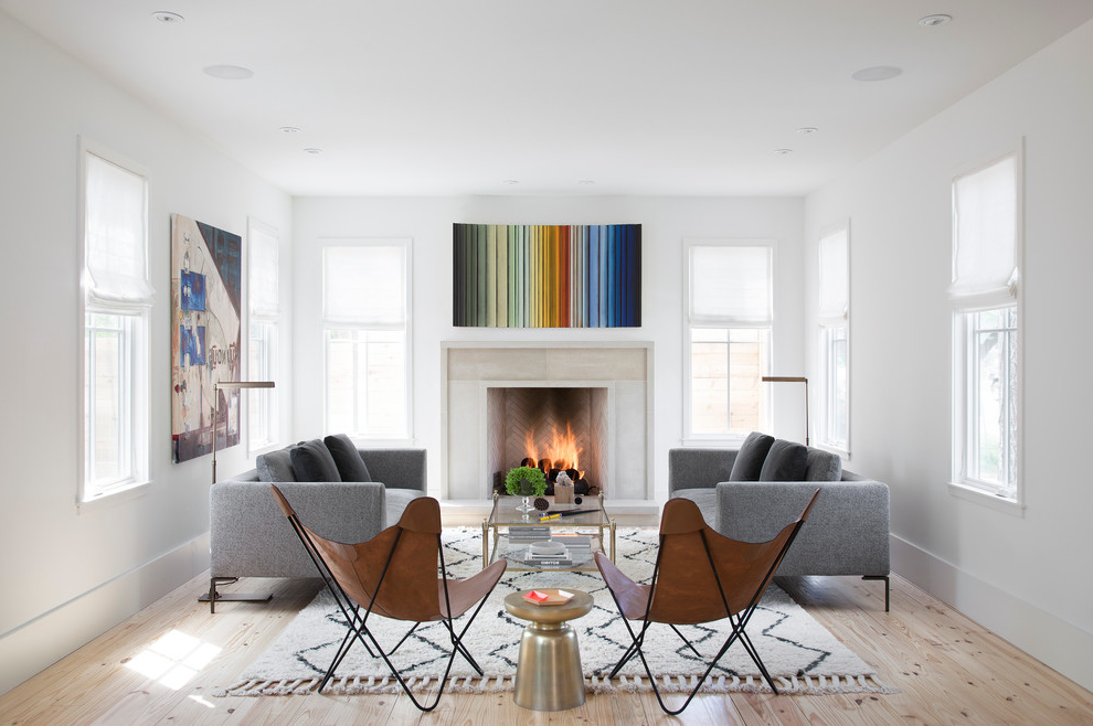 2015 Minimalist Farmhouse Living Room With Fireplace 5863