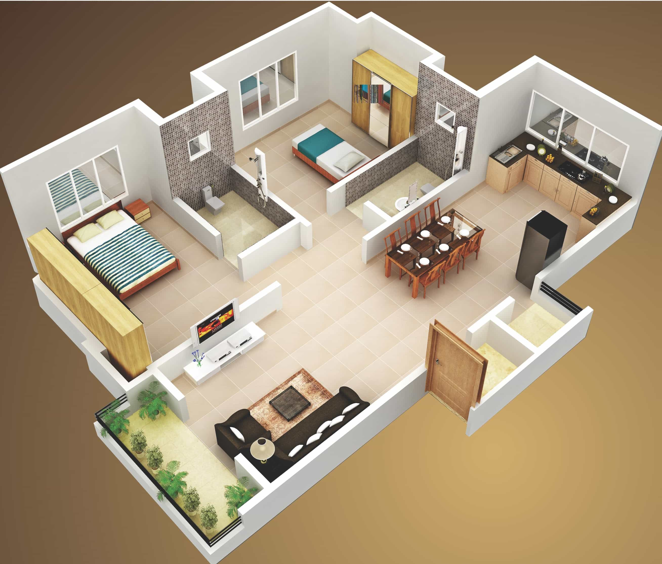 2 Bedroom Design Small House 3d Two Bedroom House Layout Design Plans 22449 Interior