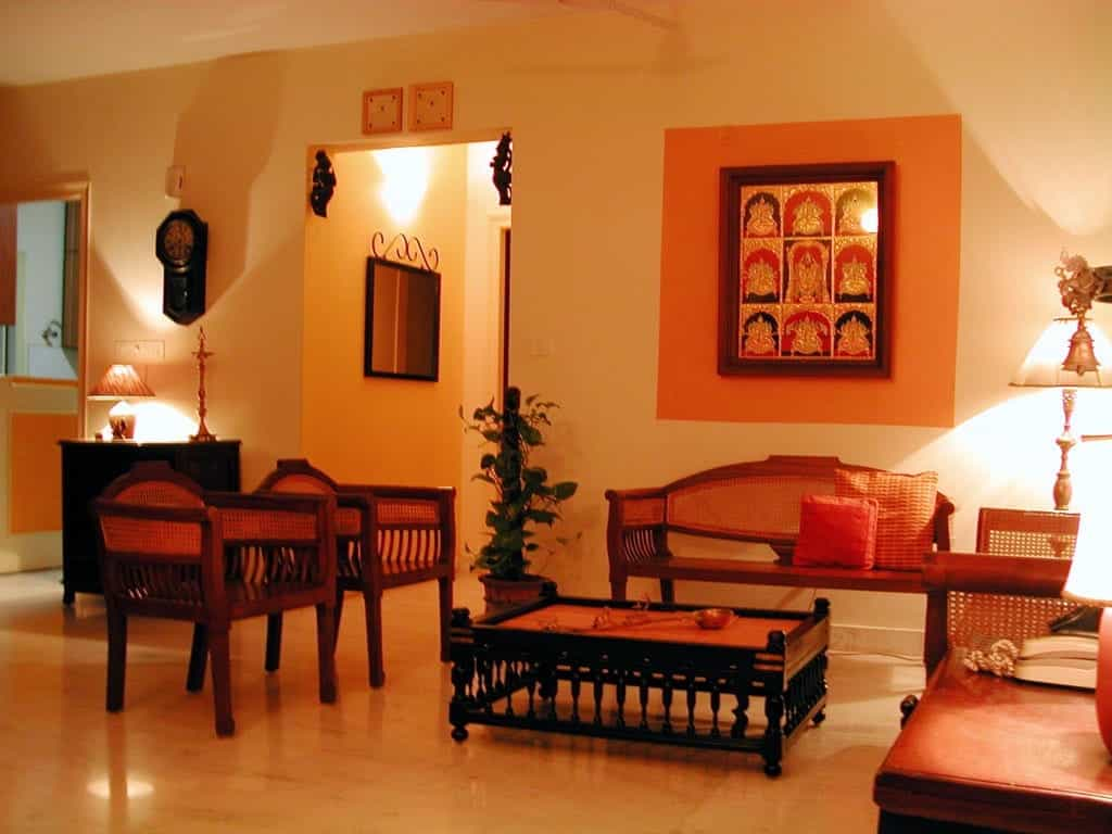 Indian Living Room Ideas Indian Living Room With Traditional Wooden Furniture