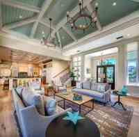 Wonderful Open Concept Coastal Living Room With Sage Green ...