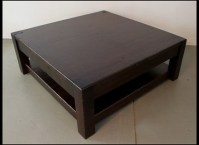 40 Photos Square Dark Wood Coffee Table