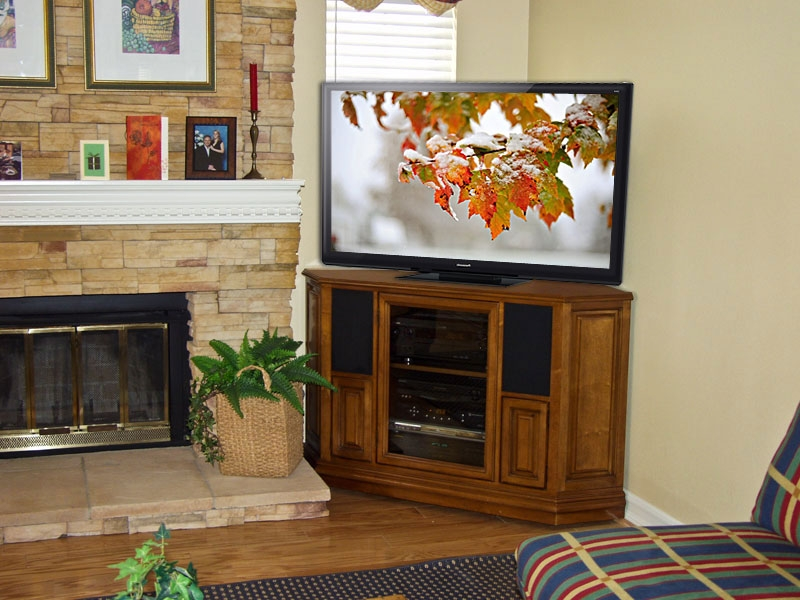 50 Inspirations Corner Oak Tv Stands For Flat Screen Tv