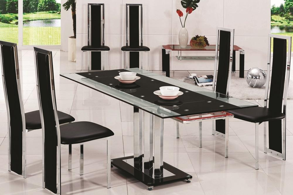 20 Photos Black Glass Dining Tables 6 Chairs Dining Room