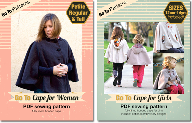 Go To Cape patterns. PDF sewing patterns for girls and women.