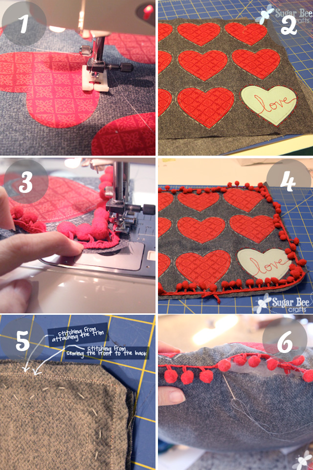 heart pillow tutorial by Sugar Bee Crafts for Go To Sew