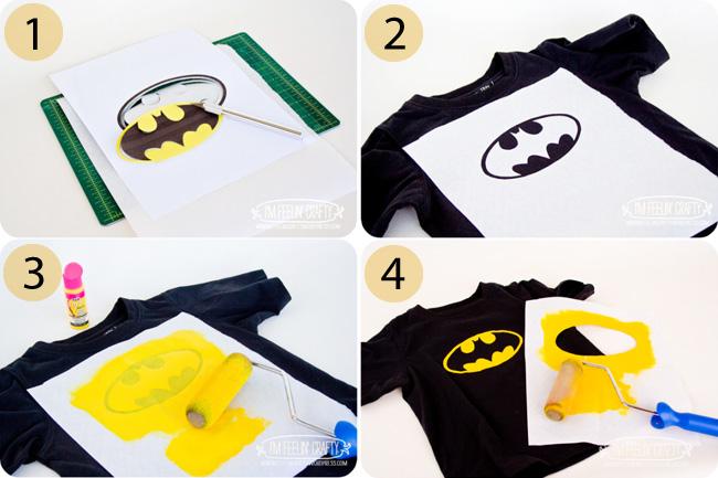 how to freezer paper stencil a superhero batman logo