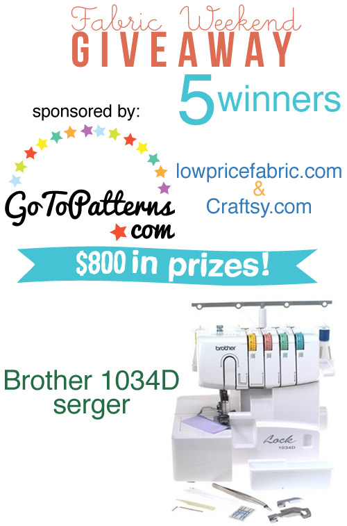 huge fabric and pattern giveaway. win a serger!