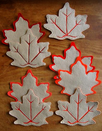 fall leaves coasters