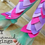 DIY mermaid leggings halloween costume tulle text
