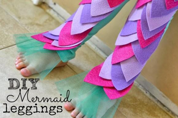 DIY mermaid leggings halloween costume tulle text