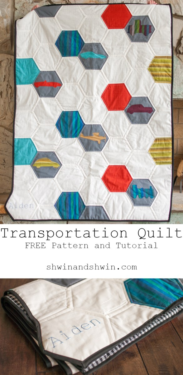 Shwin & Shwin shares a free pattern for an adorable transportation quilt that your little one will love. -Sewtorial