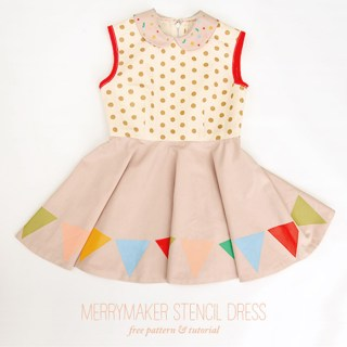 The MerryMaker Stencil dress by Handmade Charlotte is a vintage inspired dressed adapted from a majorette uniform.The free pattern fits sizes 4-6.-Sewtorial