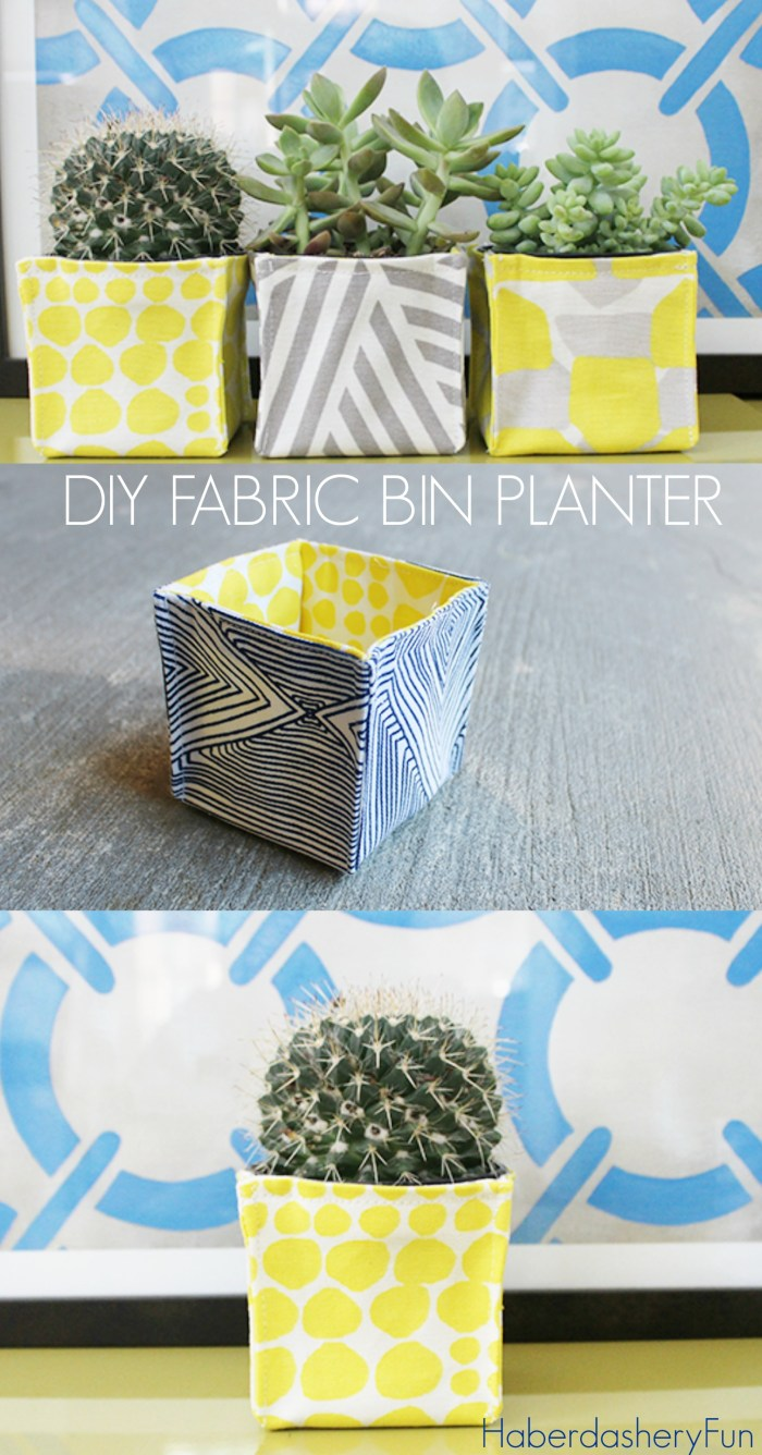 Haberdashery Fun (for UCreate) has come up with a fun way to display your luscious greens with these DIY Fabric Planter Bins. -Sewtorial