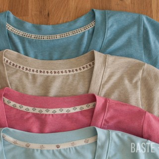 Baste and Gather shares a T-Shirt Neckline Twill Tape tutorial that will give your shirts beautifully finished results. -Sewtorial