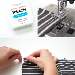 Gathering knits with floss? Genius! IndieSew shares a tutorial on using your favorite dental accessory to add lovely gathers to your knits. -Sewtorial