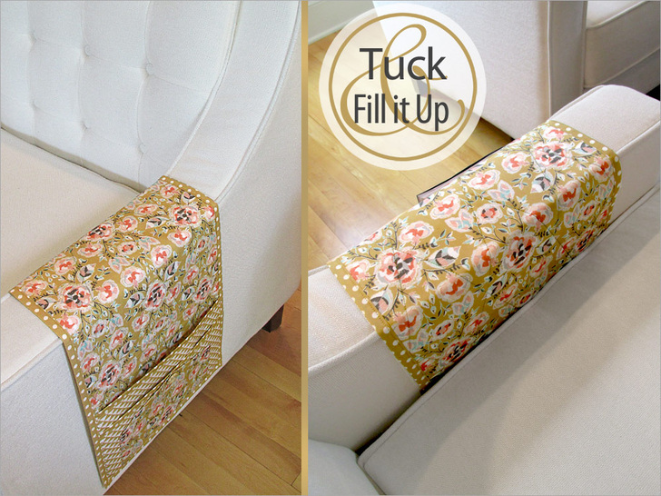 Keep Clutter Under Control With This DIY Sofa Caddy By Sew 4 Home.  (Magazines