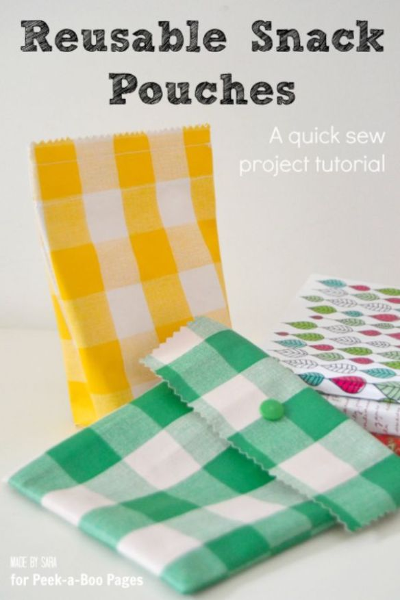 This easy tutorial by Peekaboo Pages will show you how to create easy-to-clean reusable snack pouches in no time. -Sewtorial