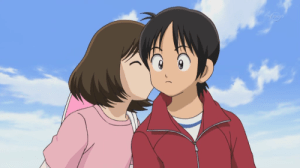 Ko Kitamura(right) and his love interest Wakaba(left) sharing a kiss