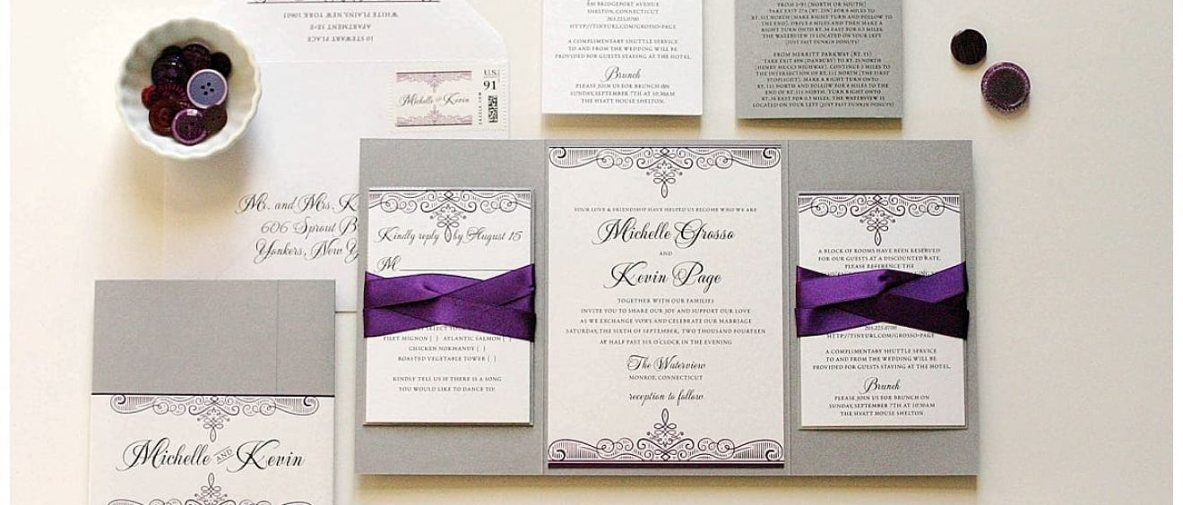 Purple And Silver Wedding Invitations Gourmet Invitations