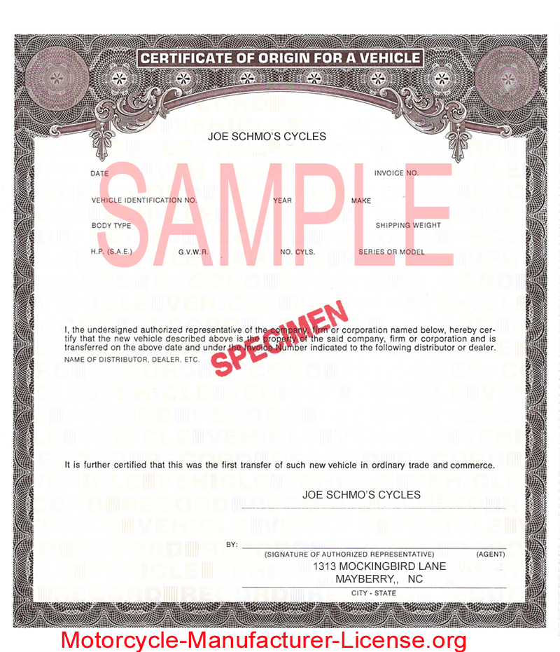 Michigan Secretary of State refuses to return Manufacturer\u0027s - Certificate Of Origin Forms
