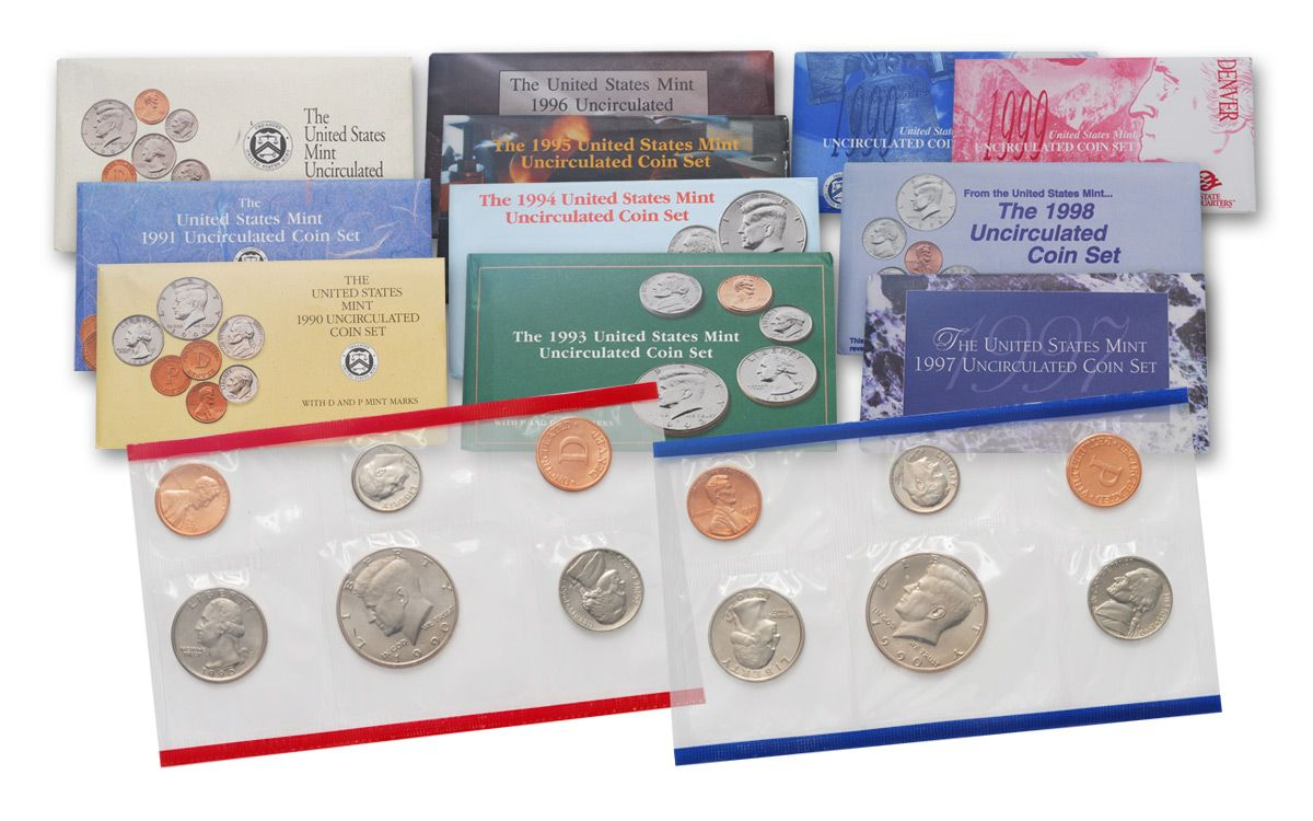 Mint Set 1990 1999 Us 10 Piece Mint Set Collection Bu Govmint