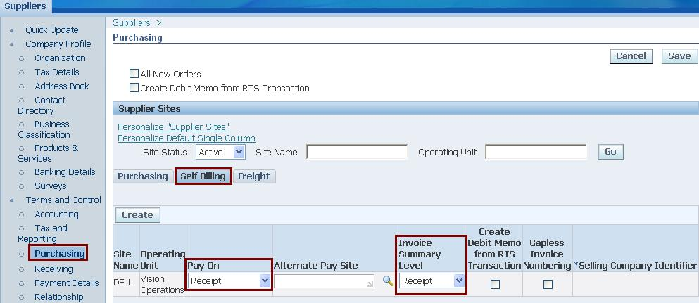 Payment on Receipt Or ERS Functionality Oracle Apps Reference