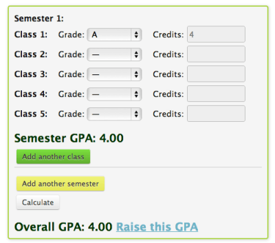College GPA Calculator Step 1