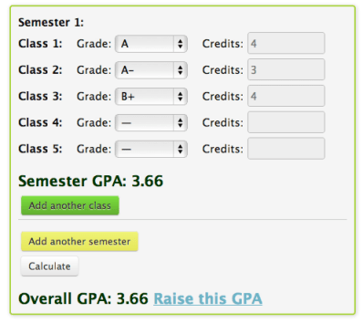 College GPA Calculator Step 2