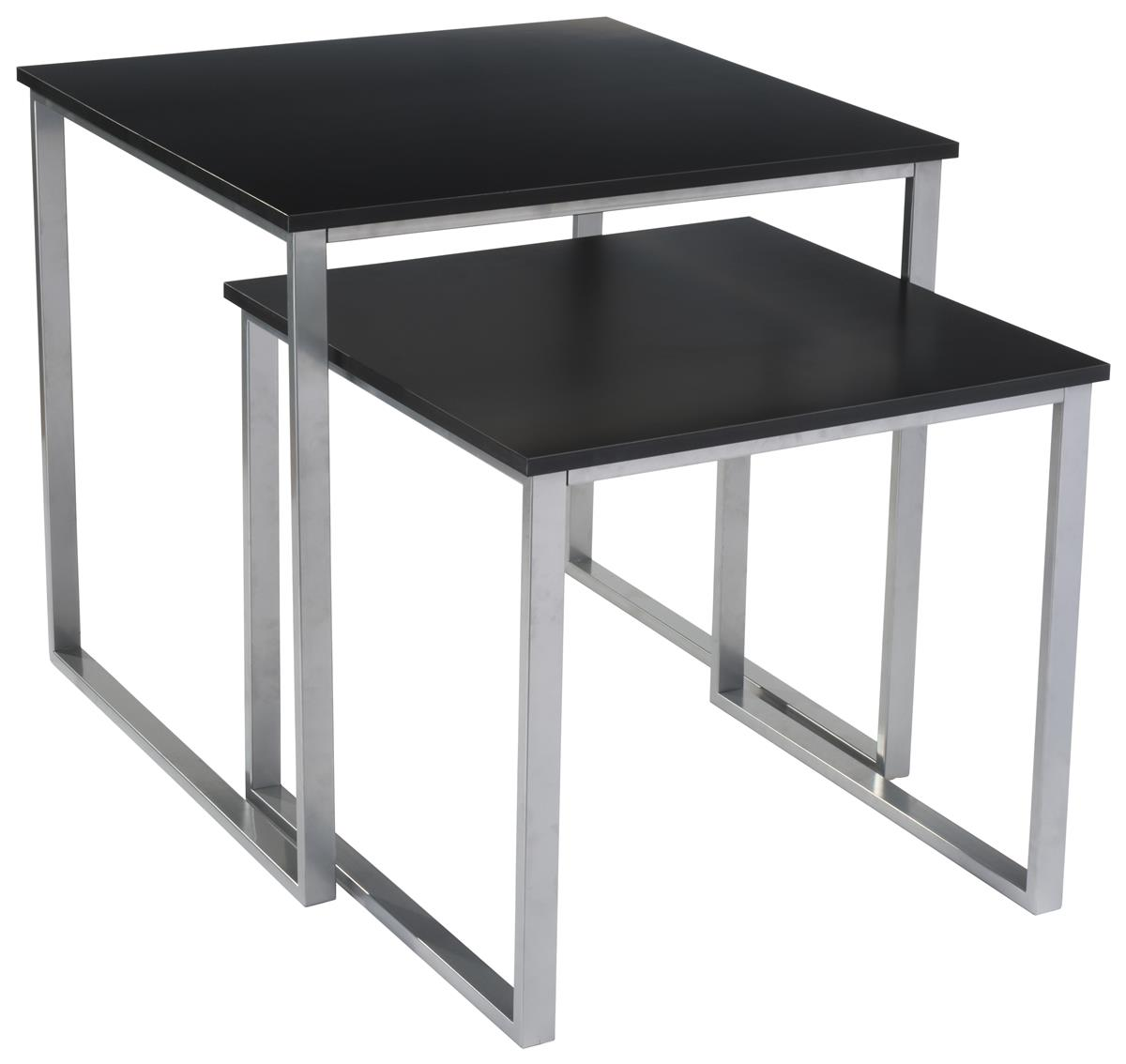 Black Metal Nesting Tables Nesting Display Table Set Set Of 2 Black Silver