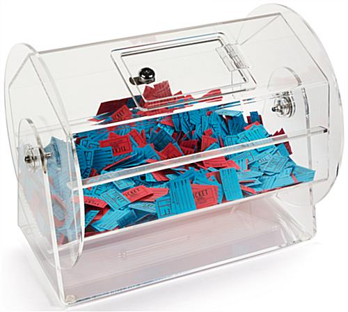 Raffle Ticket Drum Clear Acrylic Tabletop Container