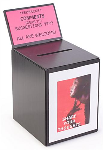 Large Ballot Box Corrugated Plastic With Removable Header