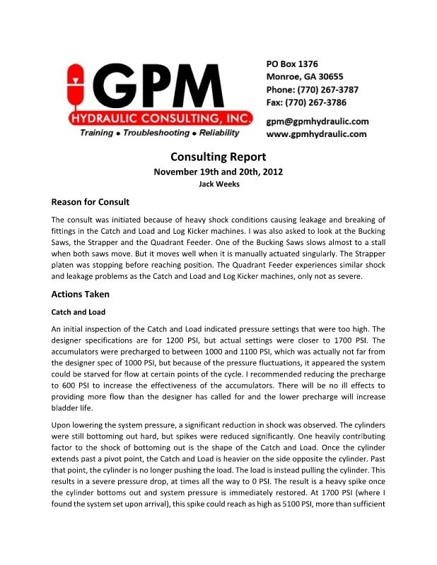 Sawmill Consulting Report - consulting report
