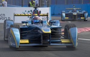 Buemi at the wheel for e.dams and on his way to winning his first ePrix in Uruguay. (AFP Photo)