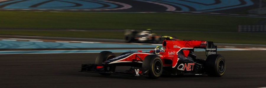 Di Grassi's F1 swansong in the Abu Dhabi twilight. Despite doing all he could, he lost his seat to Jérôme d'Ambrosio for 2011.