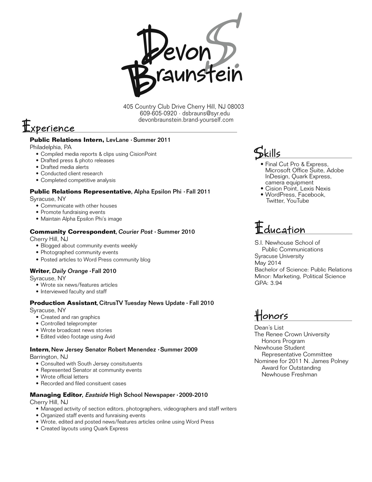 resume font thin